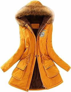 JESPER Womens Warm Long Coat Fur Collar Hooded Jacket Slim Winter Thickened  Parka Outwear Coats 66ebb40ac001