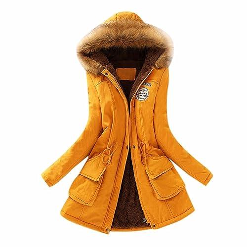 c46ed4a81 OYSOHE Womens Warm Long Coat Collar Hooded Jacket Slim Winter Parka Outwear  Coats