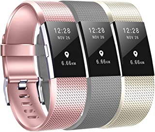 Compatible Fitbit Charge 2 Bands 3pcs Charge 2 Replacement Bands Adjustable Accessory Wristbands for Fitbit Charge 2(Rose Gold Grey Champagne Gold Small Size