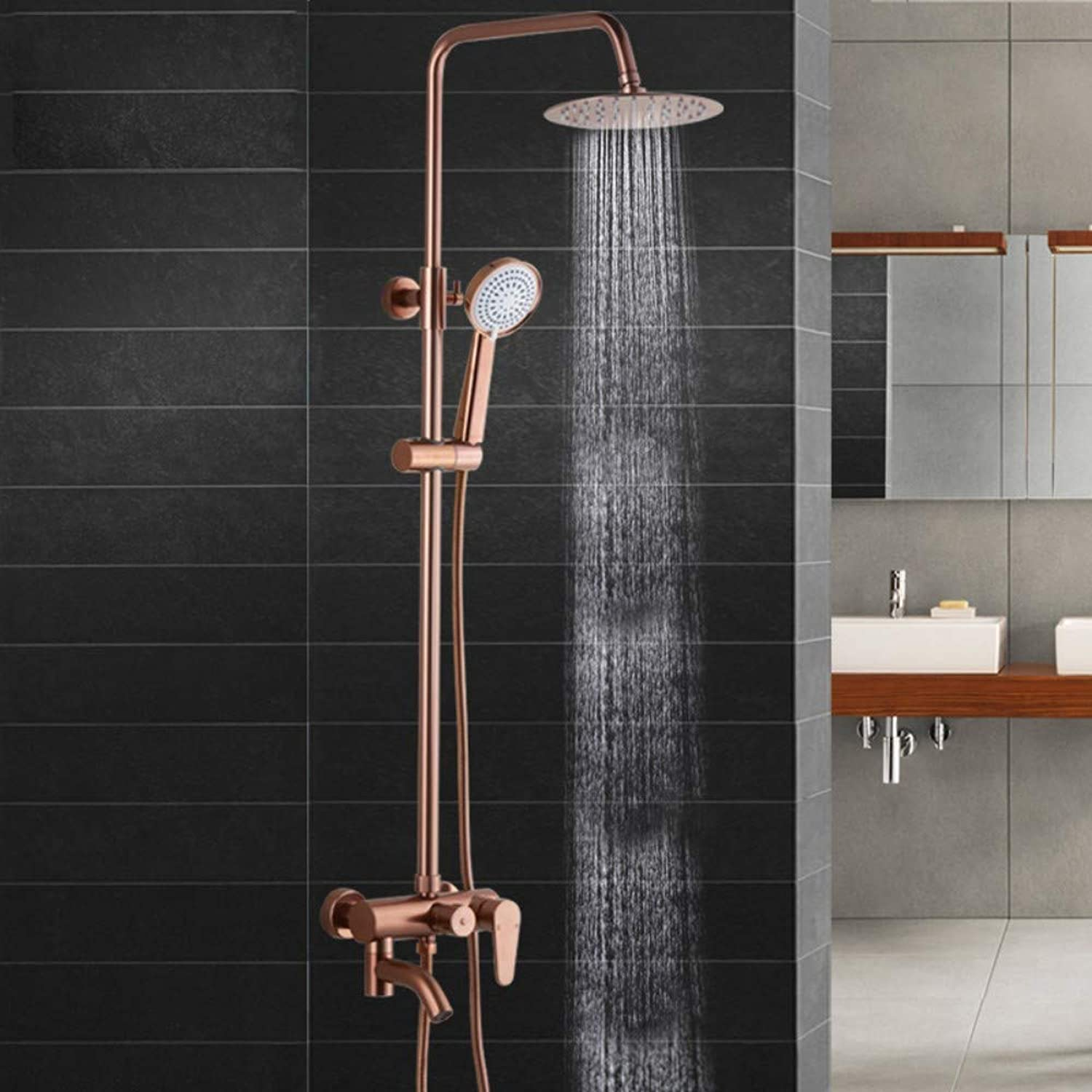 Space Aluminum gold Shower Set Lifting Pressurized Constant Temperature Multi-Function Wall-Mounted Shower pink gold.