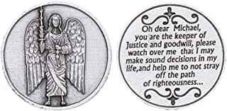 Silver Tone Saint Michael Pocket Token, 1 1/8 Inch