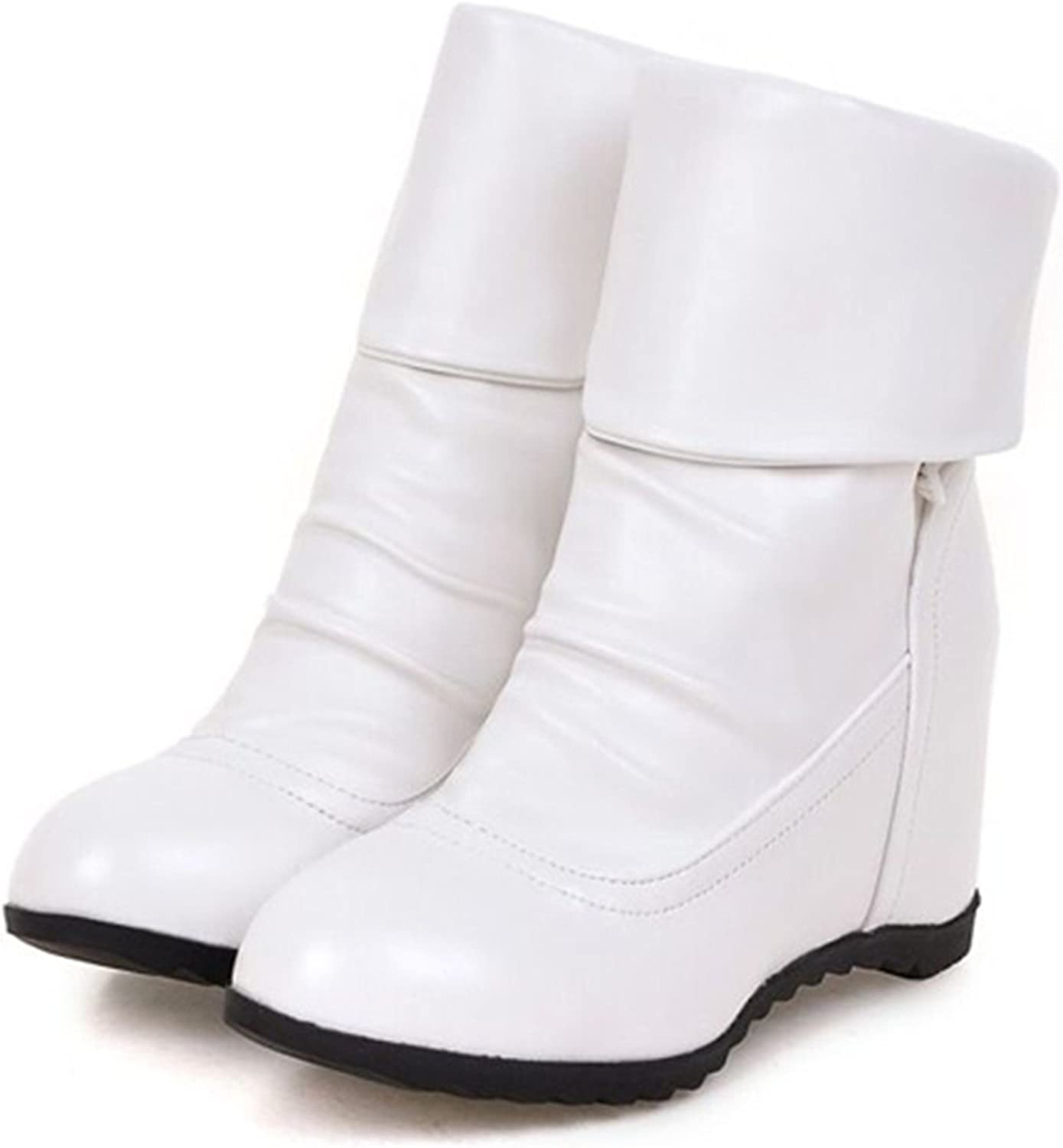 Thytas Plus Size Winter Mid-Calf Women Boots White Flats Heels Half Boots Autumn Snow shoes