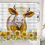 OCCIGANT Watercolor Kuh Badezimmer Duschvorhang Lustig Niedlich Büffel Sonnenblume Lila Blume Holz Tür Panel Bauernhaus Kabinenstil Wasserdicht Polyester Stoff Dekor Set mit Haken