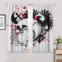 Jinguizi Tattoo Window Conjoined Hearts with Skull Eagle Wings Symbol of Brave Love Valentines Kids Curtain Black White and Red 55 x 63 inch