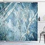 Marmor Duschvorhang, Exquisite Granit Stein Architektur Boden Natur verblasste Rock Bild, Stoff Stoff Badezimmer Dekor Set mit Haken, hellblau