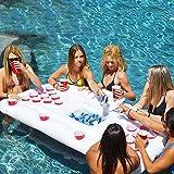 Beer Pong Luftmatratze für den Pool, Mit 28 Tassenlöchern Aus Hochdichtem PVC,Beer Pong...