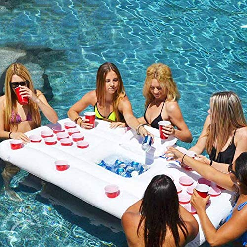 Beer Pong Luftmatratze für den Pool, Mit 28 Tassenlöchern Aus Hochdichtem PVC,Beer Pong Aufblasbar luftmatratze Wasser Spielzeug für Schwimmbäder Strände Camping, inkl. Kühlfach und Dosenhalter