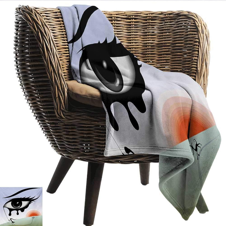 Davishouse Eye Reversible Blanket Surreal Avant Garde Art Composition Girl Runs with Eye Stick Tears Sunset Dog Image All Season Light Weight Living Room 60  Wx60 L