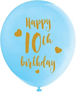 Blue 10th Birthday Latex Balloons, 12inch (16pcs) Boy Gold Happy 10th Birthday Party Decorations Supplies