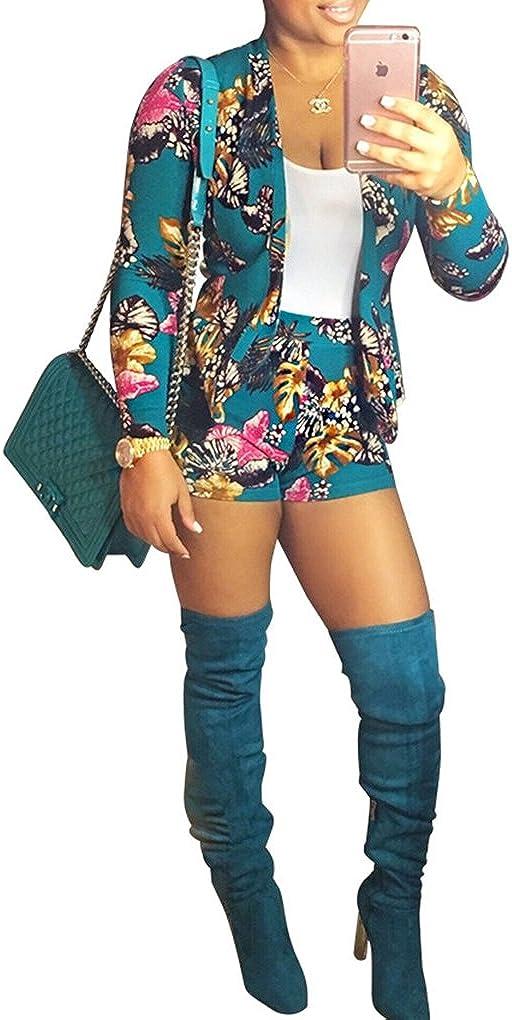 Blansdi Women Long Sleeve Flower Print Jacket High Waist Shorts 2 Piece Suit Set Outfits