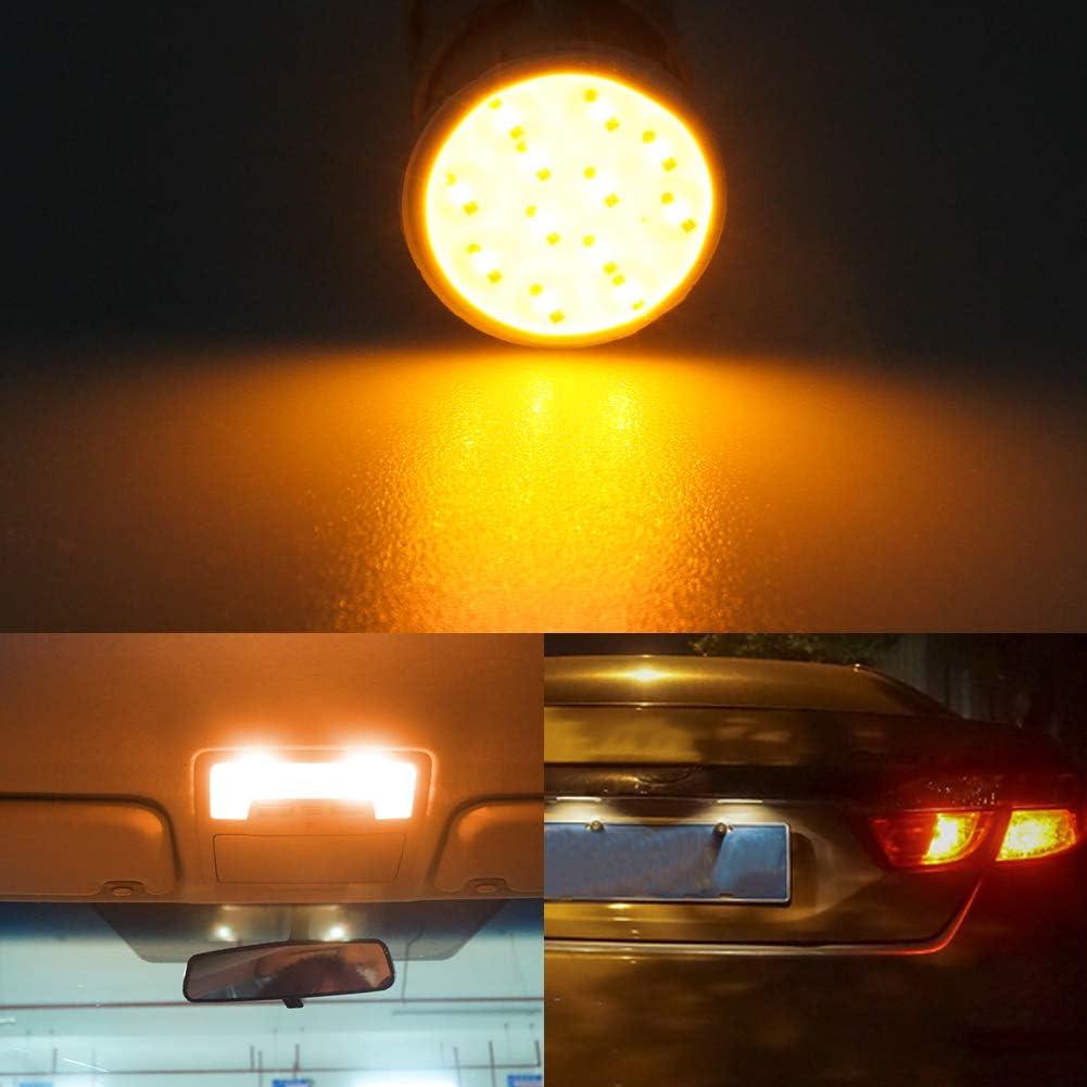 10Pcs 1157 P21//5W LED Ampoule,BAY15D 7528 2057 3496 COB LED Stop Frein Ampoule pour Lumineux Feu de Freinage Arri/ère Feux de Brouillard Position Feu Arri/ère Feu de Stationnement,Jaune