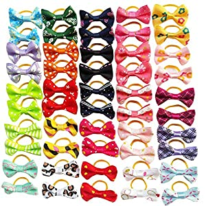 Chenkou Craft 50pcs(25pairs) Dog Cat Hair Bows with Rubber Band Pet Grooming Bow Mix Colors Varies Patterns Pet Hair Acce 1 5/8″ x 1″ (40x25mm) (Rubber Band Style)