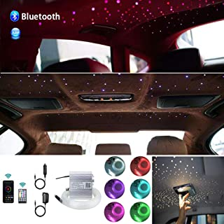 Huaxi Upgraded APP 10W Twinkle Fiber Optic Lights kit with Music Mode for Star Ceiling Sky Light Car Home Use, RGBW Light Engine+Optical Fiber Cable 430pcs of 9.8ft/3m(0.03+0.04+0.06in)+28key Remote