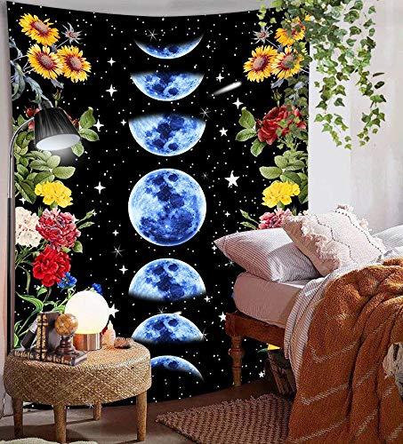 WERT Tapiz de Flores de Luna, Tela de Pared Bohemia Retro, decoración del Dormitorio del hogar, Tela de Fondo, Tapiz de Arte Mural A1 150x200cm