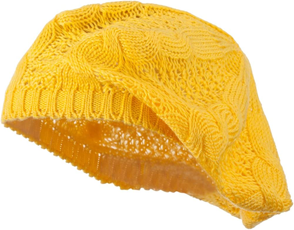 Hatiya Big Cable Knitted Beret - Yellow W08S68C