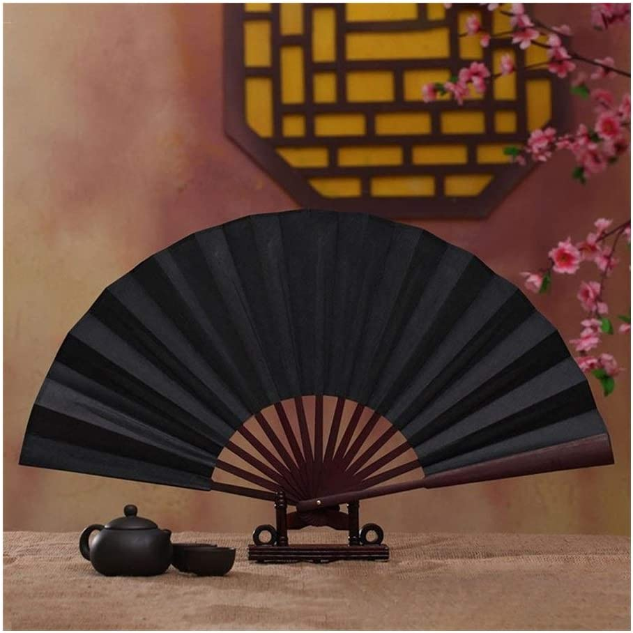 WOHAO Handheld fan Folding Fan Chinese Japanese Plain Color Bamboo Large Rave Folding Hand Fan Event Home Party Supplies For Men//Women Color : 1 Color : 4