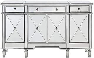 Elegant Lighting 3 Drawer 4 Door Cabinet in Silver Clear 60