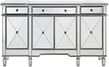 "Elegant Lighting 3 Drawer 4 Door Cabinet in Silver Clear 60"" x 14"" x 36"""
