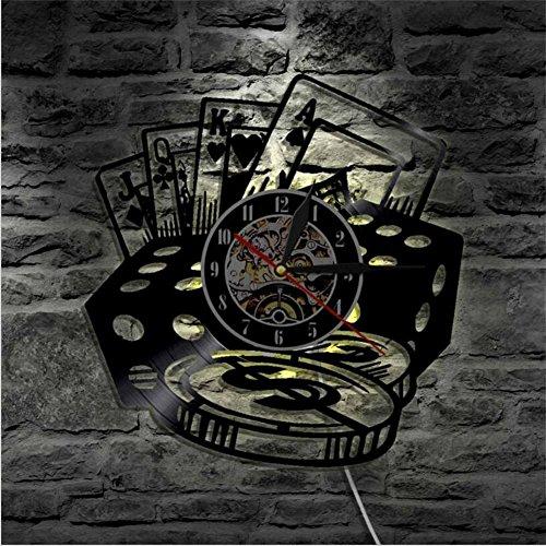YUN Clock Poker Karten Wanduhr Aus Vinyl Schallplattenuhr 3D Design-Uhr Wand-Deko Familien KreativitäT LED PersöNlichkeit Wohnzimmer Schlafzimmer Dekoration /30CM Schwarz