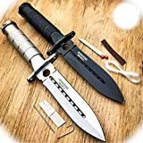 New 2 Pc 8' Inch Tactical Fishing Hunting Blade Camping Pro Tactical Limited Knife + Survival Kit + Sheath Camping Outdoor B-1074A by ProTacticalUS