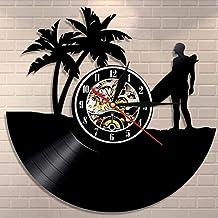 ZAWAGU Reloj de pared Surfing Vinyl Record Lp Clock Reloj de pared Tabla de surf Playa Reloj vintage Surfer Idea de regalo