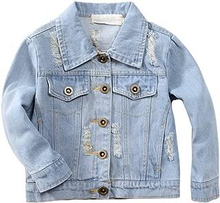 TAIYCYXGAN Girl's Denim Jacket Embroidery Flower Kids Toddler Casual Ripped Denim Coat for Girl