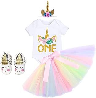 FYMNSI Baby Girls 1st Birthday Unicorn Cake Smash Floral Romper + Skirt + Unicorn Headband + Shoes 4PCS Outfits
