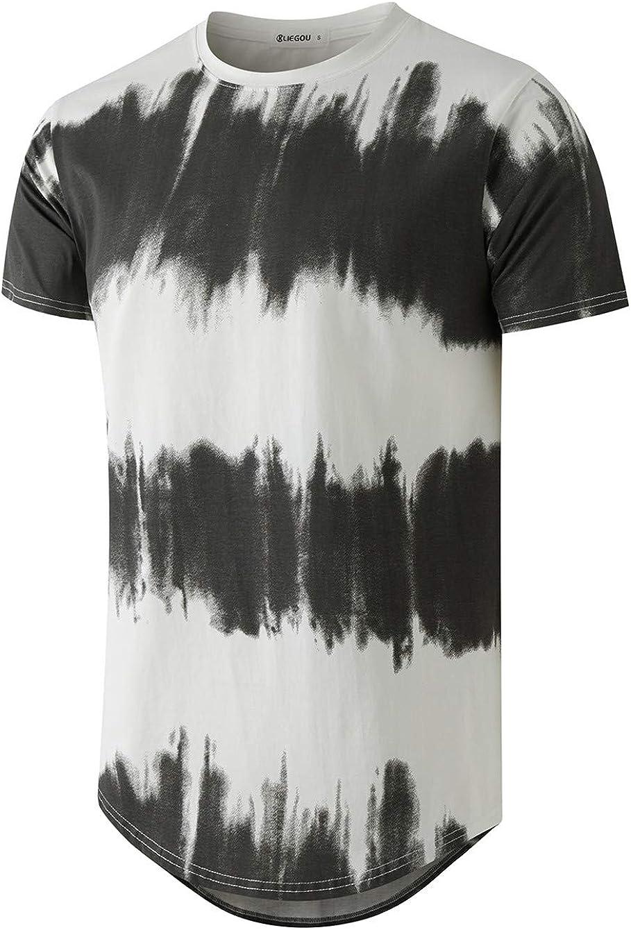 New Superlatite life KLIEGOU Men's Fashion Hip Hop Block Color T-Shirt Stripe