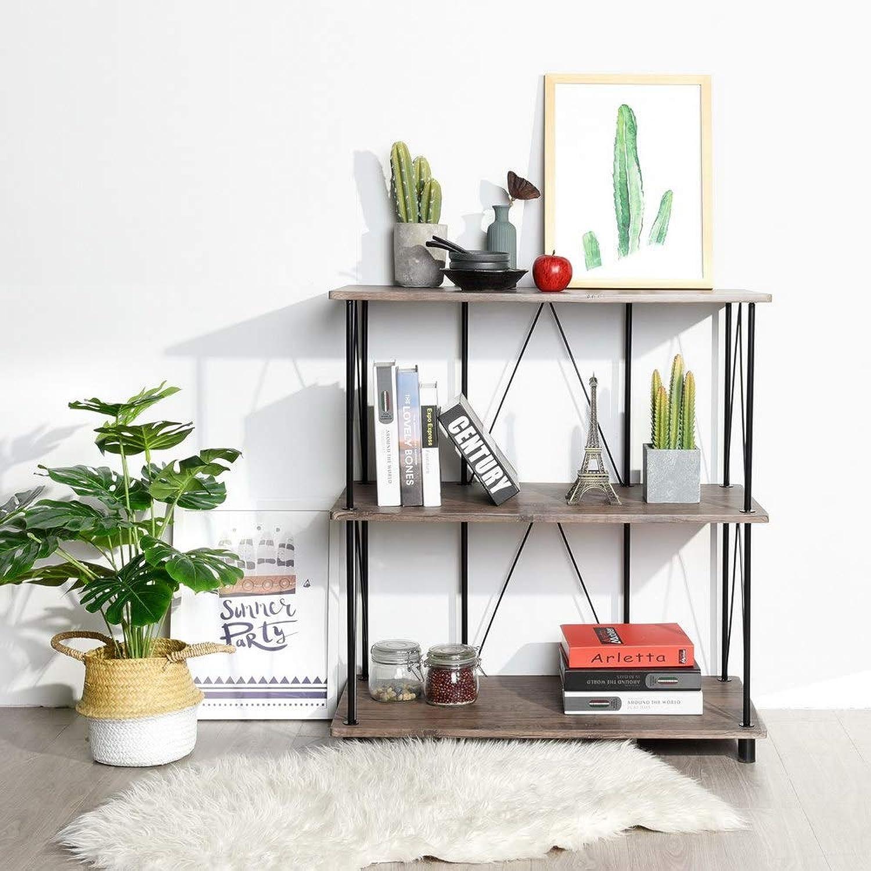FurnitureR 3-Tier Bookshelf, Industrial Design MDF with PVC