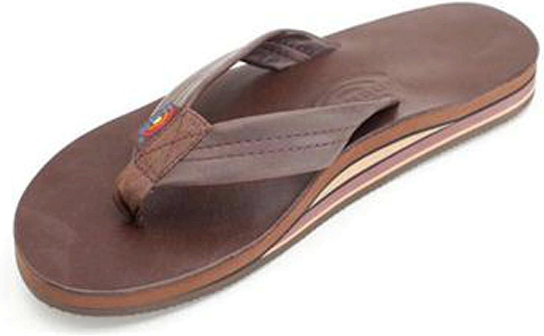Rainbow Sandals Men's 2 Tone Leather Double Stack Classic Mocha Size X-Large (11-12)