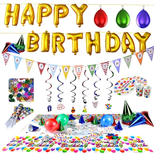 Joyin Toy Happy Birthday Decorations Party Supplies Set (Over 100 PC) and Party Decorations All-in-One Pack including Banner, Flags, Foil Party Balloons, Hats,Confetti, Tablecloth and Plates