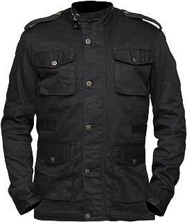 Mens Frank Biker Multi pockets Bernthal Black Cotton Jacket