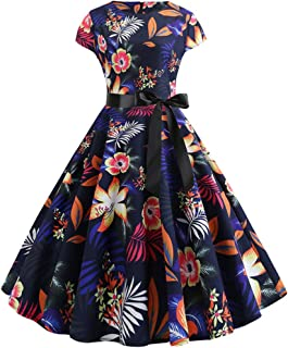 iYBUIA Ms Retro Round Neck Print Short Sleeve Thin Waist Big Pendulum Dress