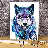 Lobo Animal DIY pintura por números Kit completo pinturas al óleo 40x50cm lienzo cuadros hechos a mano para niños para dibujar al por mayor Pintura-por-números
