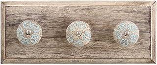 Indianshelf - Lot de 1 patère en bois bleu craquelé - Fait main - Motif floral vintage - Pour vêtements, chapeaux, décorat...