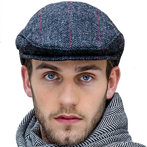 Charcoal Gray Tweed Flat Cap, Made in Ireland, L