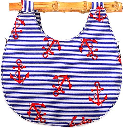 Küstenluder Damen Tasche Malia Anker Bamboo Blau