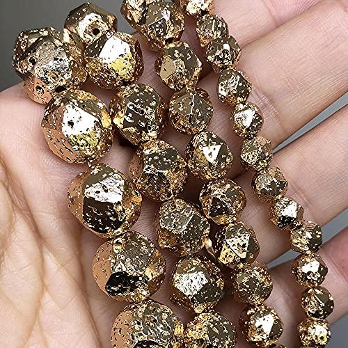 Cuentas de lava de minerales volcánicas chapados en oro facetado perlas de piedra sueltas para la fabricación de joyas Bricolaje Bricolaje-10mm (aproximadamente 36pcs)