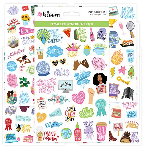 bloom daily planners Female Empowerment Planner Stickers - Variety Pack - 6 Sheets  250 Girl Power Themed Stickers