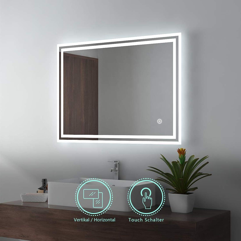 EMKE LED Badspiegel 80x60cm Badezimmerspiegel mit Beleuchtung kaltwei Lichtspiegel Wandspiegel mit Touchschalter IP44 energiesparend