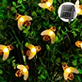 Solar Bee String Lights Outdoor 31FT 50 LED Honeybee Fairy Lights with 8 Lighting Modes, Waterproof Solar Bumble Bee Lights for Patio Yard Garden Grass Wedding Christmas Party Decor (Warm White)
