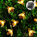 Solar Bee String Lights Outdoor 31 Feet 50 Led Honeybee Fairy Lights with 8 Lighting Modes, Waterproof Solar Bumble Bee Lights for Patio Yard Garden Grass Wedding Christmas Party Decor (Warm White)