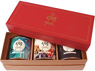 4700BC Popcorn: Festive Gift Box, 3 Tins, 1 Cheese Popcorn, 1 Caramel Popcorn and 1 Chocolate Popcorn