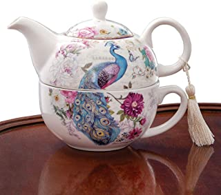 Bits and Pieces – Tea For One Peacock Porcelain Teapot and Cup Set – Elegant..