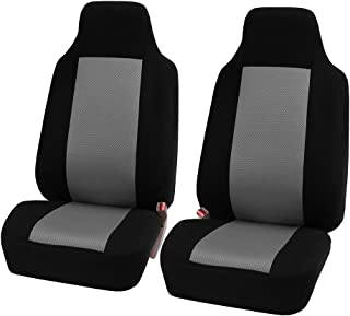 FH Group FB102102 Classic Cloth Car Pair Set High Back Seat Covers Gray/Black- Fit Most Car, Truck, SUV, or Van