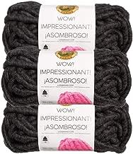 Lion Brand (3 Pack) Wow! Acrylic & Wool Soft Up in Smoke Black Dark Gray Yarn for Knitting Crocheting Jumbo #7