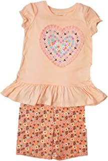e35f98998263b Toughskins Girls Outfit Peach Heart Shirt & Flower Print Shorts Set M