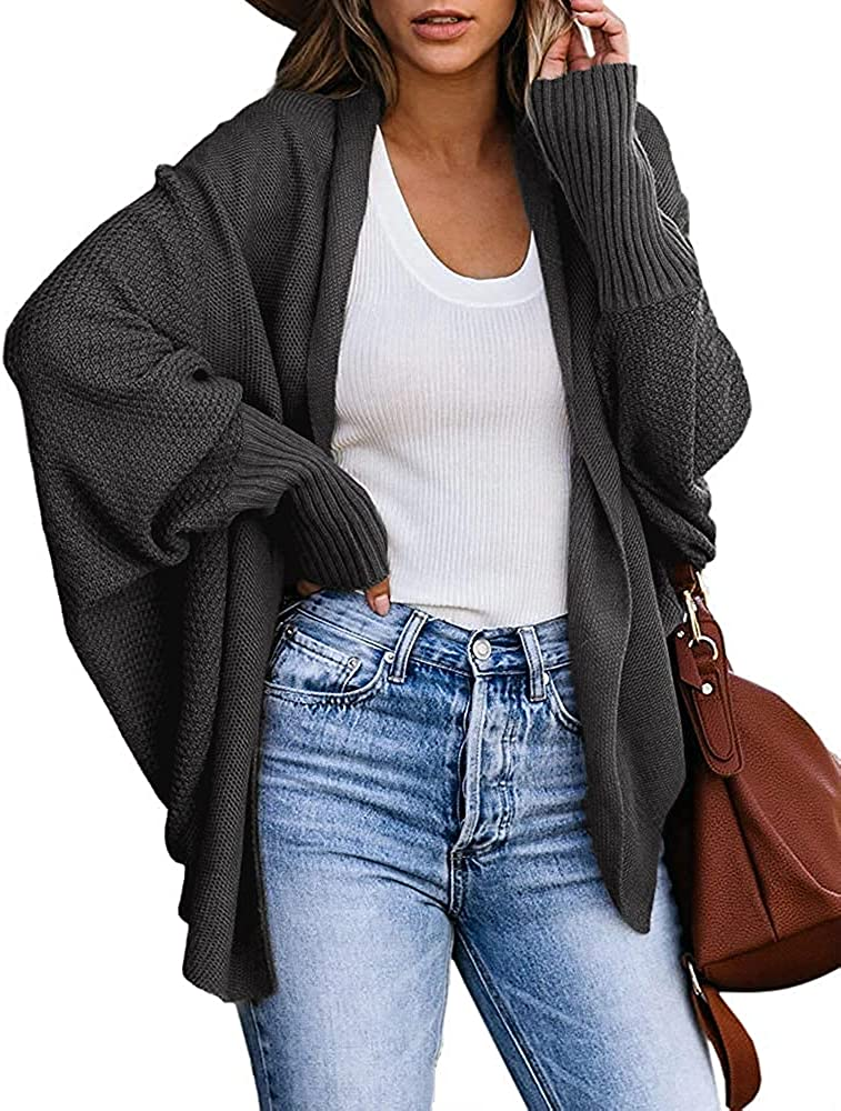 Rilista Womens Open Front Cardigan Cable Knit Slouchy Oversized Lightweight Sweater