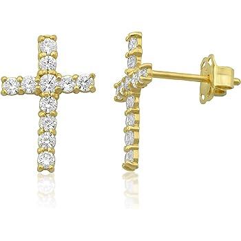 14k Yellow Gold Plain Cross Screw Back Religious Earrings for Girls or Pre Teens