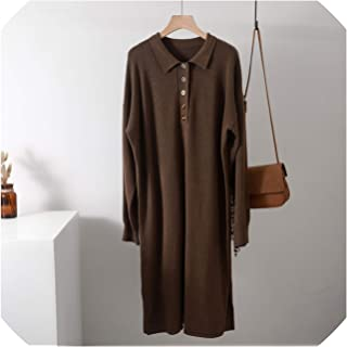 Turndown Collar Oversize Thick Long Women Autumn Winter Straight Female Casual Loose Maxi Knit Sweater Dress